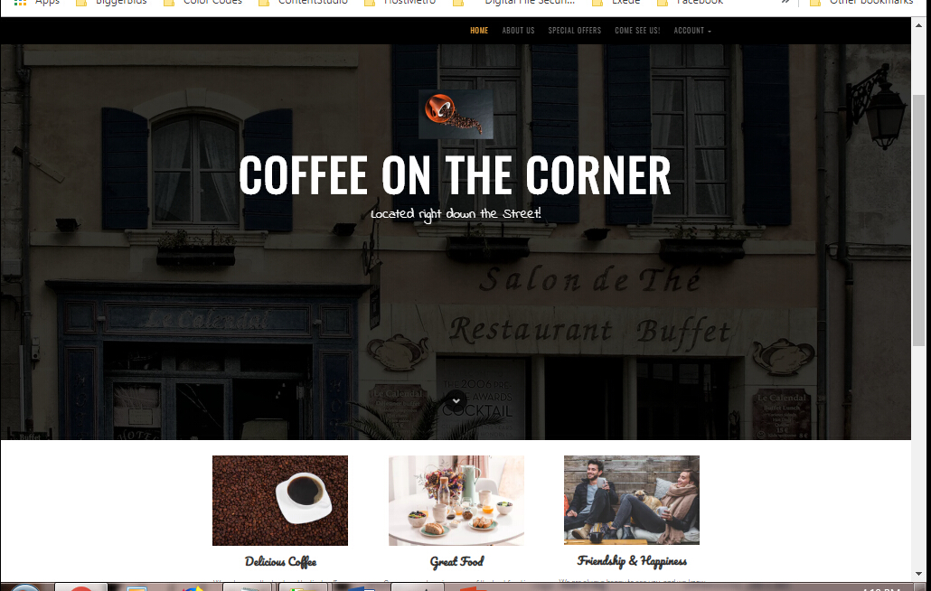 Desktop Website Coffee Cafe