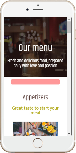 Mobile Website Restaurant Menu